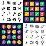 Électricien All dans les icônes une noires et la conception plate de couleur blanche à main levée réglée Images stock