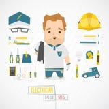 Électricien drôle plat de charatcer Photos stock