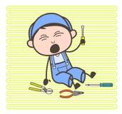 Électricien Fall Down de bande dessinée avec l'illustration de vecteur d'outils illustration libre de droits