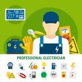 Électricien Flat Icons Set Image libre de droits