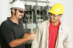 Électriciens - bon travail Photo libre de droits