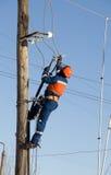 Électrique élimine un accident sur le pôle Images libres de droits