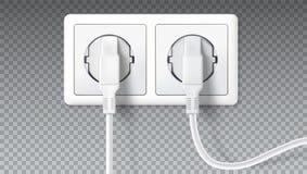 Électrique branche la prise Prises blanches réalistes insérées en débouché électrique, sur transparent Icône de dispositif illustration stock