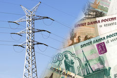 Électrique et fils sur un fond d'argent Photo libre de droits