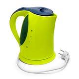Électrique vert de bouilloire d'isolement sur le fond blanc Photo stock