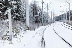 Électriques vides se piquent le chemin de fer en hiver Photographie stock libre de droits