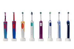 Électro brosses à dents d'isolement sur le fond blanc Images libres de droits