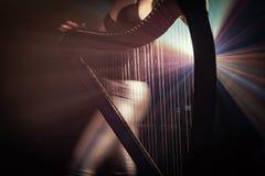 Électro harpe dans les rayons de la lumière Image stock