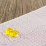 Électrocardiogramme avec des pilules Photos libres de droits