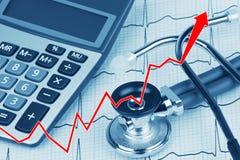 électrocardiogramme avec le stéthoscope et la calculatrice montrant le coût de soins de santé Photographie stock libre de droits