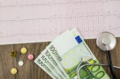 Électrocardiogramme avec les pilules, l'argent et le stéthoscope Photo libre de droits