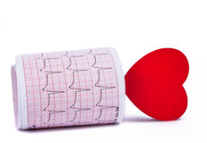 Électrocardiogramme avec un coeur Images libres de droits
