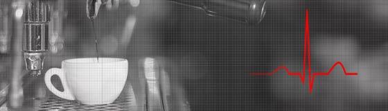 Électrocardiogramme de café d'expresso Soins de santé de régime Rythme de coeur Photos stock