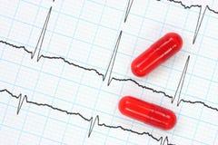 Électrocardiogramme et capsules Images libres de droits