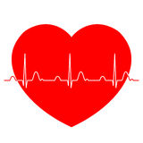 Électrocardiogramme normal d'ECG avec le coeur rouge Photographie stock libre de droits
