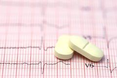 Électrocardiographe avec des pilules Image libre de droits