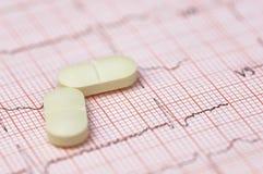 Électrocardiographe avec des pilules Photo libre de droits