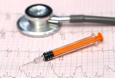 Électrocardiographe avec le stéthoscope et la seringue Image stock