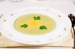 Électrodéposition artistique de potage aux légumes délicieux Image stock