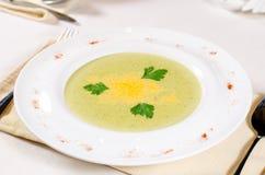 Électrodéposition artistique de potage aux légumes délicieux Images stock