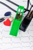 Électrodes d'ECG sur le fragment de l'électrocardiogramme Images libres de droits