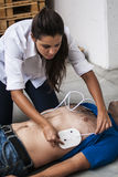 Électrodes de défibrillateur Photographie stock