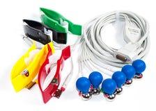 Électrodes et câble d'ECG Images libres de droits