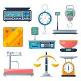Électronique, équilibre et d'autres types d'échelles Isolat d'illustrations de vecteur Photo libre de droits