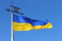 élevage dans le drapeau de vent de l'Ukraine Image libre de droits