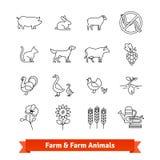 Élevage et agriculture mince icônes de schéma illustration libre de droits