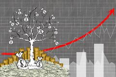 élevage graphique d'arbre de la pile d'argent Image libre de droits