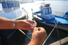 Élimination du crochet des poissons photographie stock