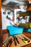 Élimination du système en plastique de déversoir de cuisine Photographie stock