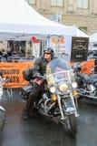 Élimination sur un motard de moto Images stock