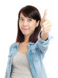 Éloge asiatique de femme avec le pouce  Photos stock