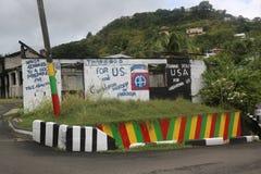 Éloge USA de plaque de rue et héros des Caraïbes pour libérer le Grenada dans le ` s, Grenada de St George Image stock