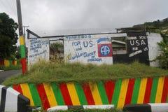 Éloge USA de plaque de rue et héros des Caraïbes pour libérer le Grenada dans le ` s, Grenada de St George Image libre de droits