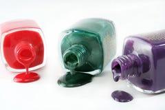 Émail de clou coloré par trois Photo libre de droits