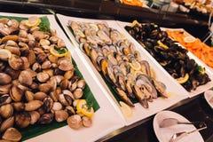 Émaillez Venus Shell, la moule, crevette rose dans la ligne de buffet de fruits de mer Image libre de droits