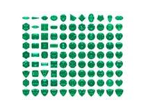 Émeraude d'isolement sur le blanc. GRANDE collection Image libre de droits