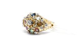 Émeraude, saphir bleu et diamant rose avec le diamant blanc et le g Photo libre de droits