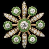 émeraudes de diamant de broche image stock