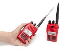 Émetteur-récepteur de radio portative sur le fond blanc Photo libre de droits