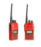 Émetteur-récepteur par radio rouge d'isolement sur le fond blanc Image libre de droits