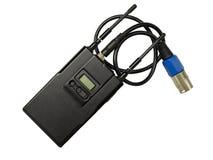 Émetteur sans fil de microphone au-dessus de blanc Images stock