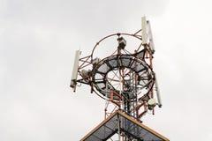 Émetteurs et antennes sur la tour de télécommunication Image stock