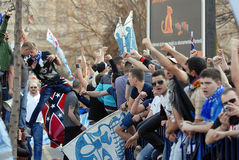 Émeute de défenseurs du football Image libre de droits