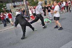Émeute de passionés du football Image stock