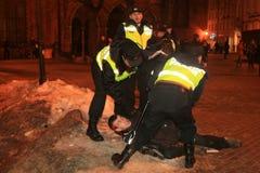 Émeute letton Photographie stock libre de droits