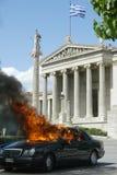 Émeutes à Athènes Photo stock